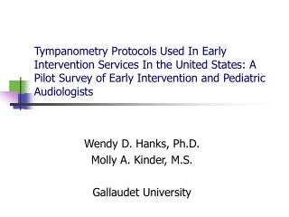 Tympanometry Protocols Used In Early Intervention Services In the United States: A Pilot Survey of Early Intervention an