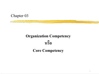 Organization Competency  Core Competency