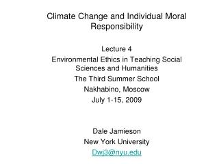 Climate Change and Individual Moral Responsibility