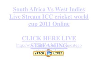 South Africa Vs West Indies Live Stream ICC cricket world cu