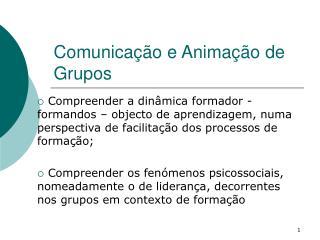 Comunica  o e Anima  o de Grupos