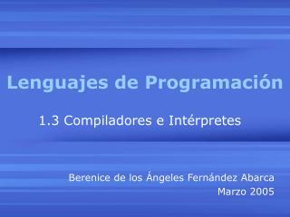 Lenguajes de Programaci n