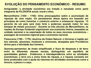 EVOLU  O DO PENSAMENTO ECON MICO - RESUMO