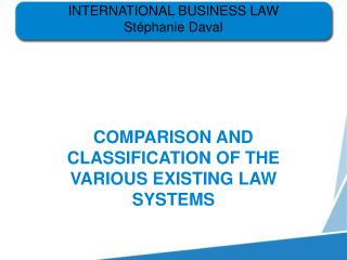 INTERNATIONAL BUSINESS LAW St phanie Daval