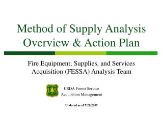 Method of Supply Analysis Overview  Action Plan