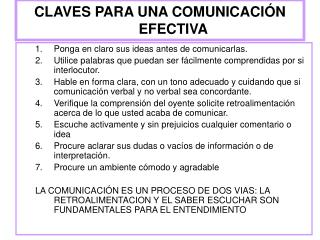 CLAVES PARA UNA COMUNICACI N EFECTIVA