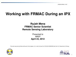Working with FRMAC During an IPX