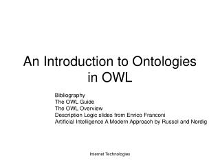 An Introduction to Ontologies in OWL