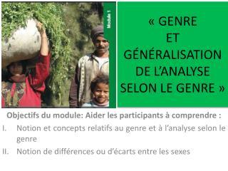 GENRE  ET  G N RALISATION DE L ANALYSE SELON LE GENRE