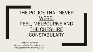 Policing: History  Structure