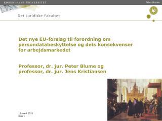 Det nye EU-forslag til forordning om persondatabeskyttelse og dets konsekvenser for arbejdsmarkedet   Professor, dr. jur
