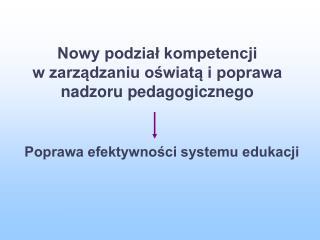Nowy podzial kompetencji  w zarzadzaniu oswiata i poprawa nadzoru pedagogicznego