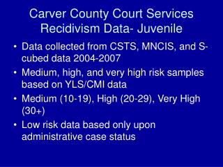 Carver County Court Services Recidivism Data- Juvenile