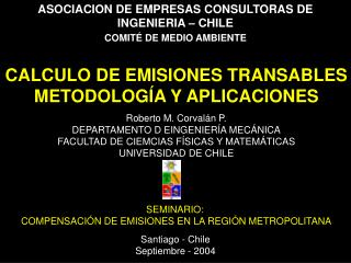 ASOCIACION DE EMPRESAS CONSULTORAS DE INGENIERIA   CHILE  COMIT  DE MEDIO AMBIENTE