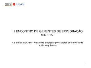 III ENCONTRO DE GERENTES DE EXPLORA  O MINERAL   Os efeitos da Crise   Vis o das empresas prestadoras de Servi os de an