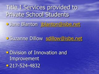 Title I Services provided to Private School Students