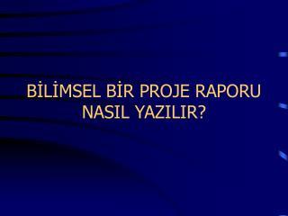 BILIMSEL BIR PROJE RAPORU NASIL YAZILIR