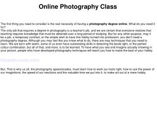 Photography classes online