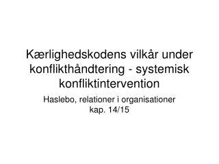 K rlighedskodens vilk r under konflikth ndtering - systemisk konfliktintervention
