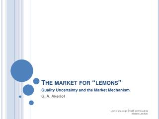 The market for  lemons