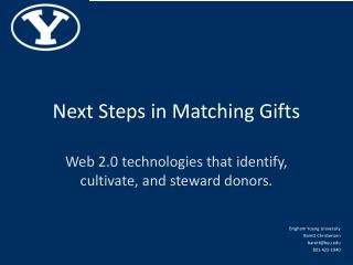 Next Steps in Matching Gifts