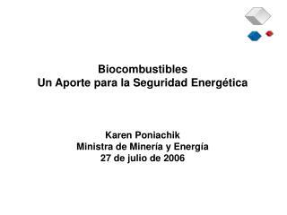 Biocombustibles Un Aporte para la Seguridad Energ tica     Karen Poniachik Ministra de Miner a y Energ a 27 de julio de