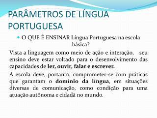 PAR METROS DE L NGUA PORTUGUESA