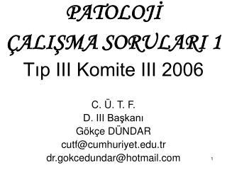PATOLOJI   ALISMA SORULARI 1 Tip III Komite III 2006  C.  . T. F.  D. III Baskani  G k e D NDAR cutfcumhuriyet.tr  dr.go