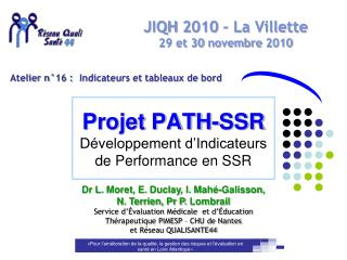 Projet PATH-SSR D veloppement d Indicateurs de Performance en SSR