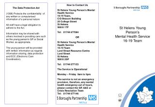 How to Contact Us  St Helens Young Person s Mental Health Service  16-19 Team, C