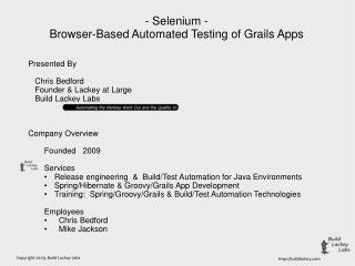 Selenium: Browser-Based Automated Testing for Grails Apps