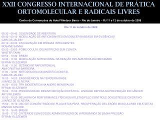 XXII CONGRESSO INTERNACIONAL DE PR TICA ORTOMOLECULAR E RADICAIS LIVRES