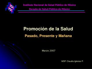 Instituto Nacional de Salud P blica de M xico Escuela de Salud P blica de M xico