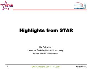Kai Schweda Lawrence Berkeley National Laboratory for the STAR Collaboration
