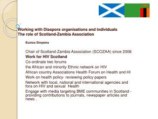 Working with Diaspora organisations and individuals      The role of Scotland-Zambia Association