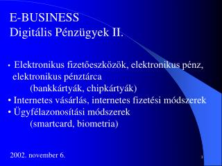 E-BUSINESS Digit lis P nz gyek II.
