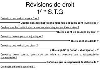 R visions de droit  1 re S.T.G