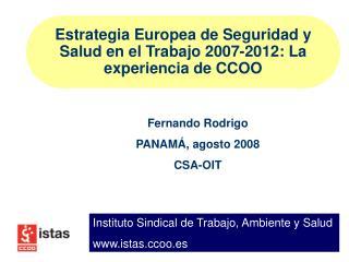 Estrategia Europea de Seguridad y Salud en el Trabajo 2007-2012: La experiencia de CCOO