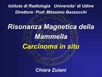 Istituto di Radiologia   Universita  di Udine Direttore: Prof. Massimo Bazzocchi  Risonanza Magnetica della  Mammella Ca