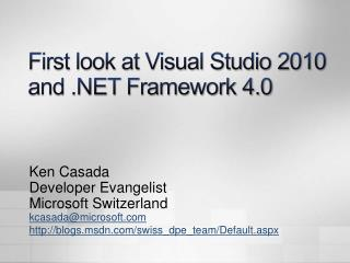 First look at Visual Studio 2010 and  Framework 4.0