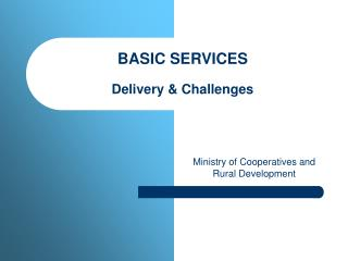 BASIC SERVICES  Delivery  Challenges