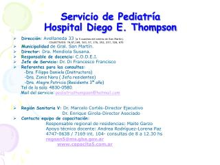 Servicio de Pediatr a Hospital Diego E. Thompson