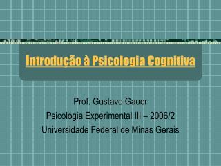 Introdu  o   Psicologia Cognitiva