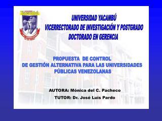 UNIVERSIDAD YACAMB  VICERRECTORADO DE INVESTIGACI N Y POSTGRADO DOCTORADO EN GERENCIA