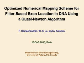 Optimized Numerical Mapping Scheme for Filter-Based Exon Location in DNA Using a Quasi-Newton Algorithm