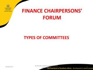 FINANCE CHAIRPERSONS  FORUM