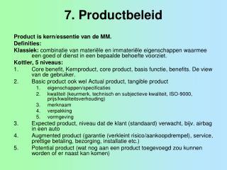 7. Productbeleid