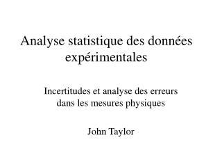 Analyse statistique des donn es exp rimentales