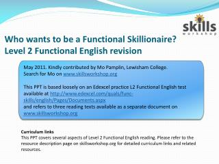 Who wants to be a Functional Skillionaire Level 2 Functional English revision