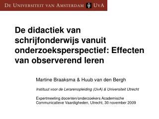 De didactiek van schrijfonderwijs vanuit onderzoeksperspectief: Effecten van observerend leren